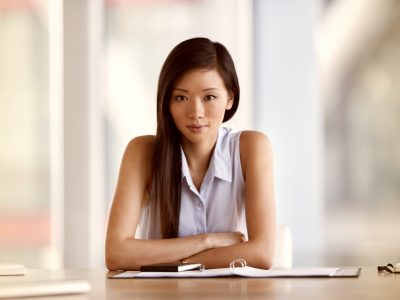 Portrait confident businesswoman in conference room