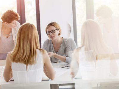 Businesswomen meeting in conference room